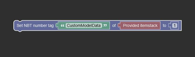 "Set Number NBT Tag ""CustomModelData"" of *Itemstack* to 1"