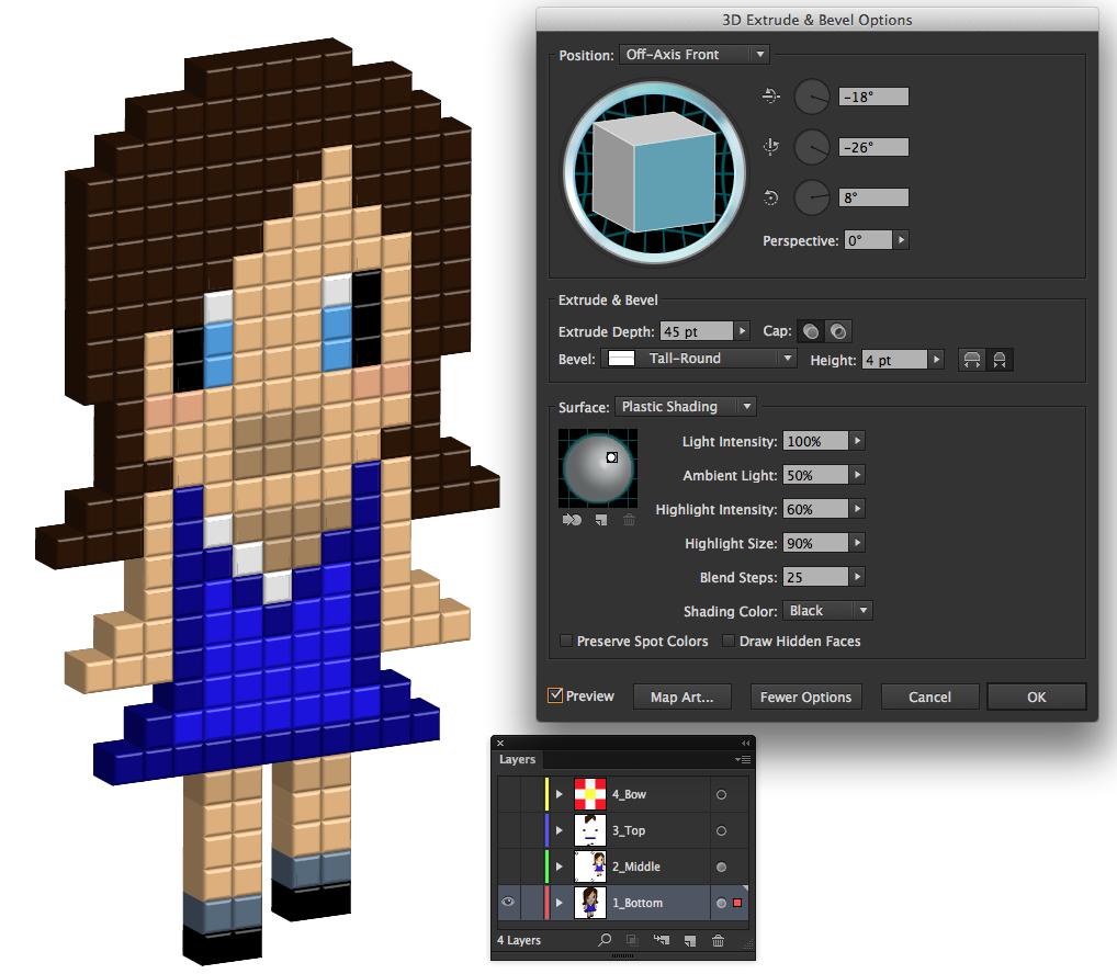 Create 3D Pixel Art In Illustrator