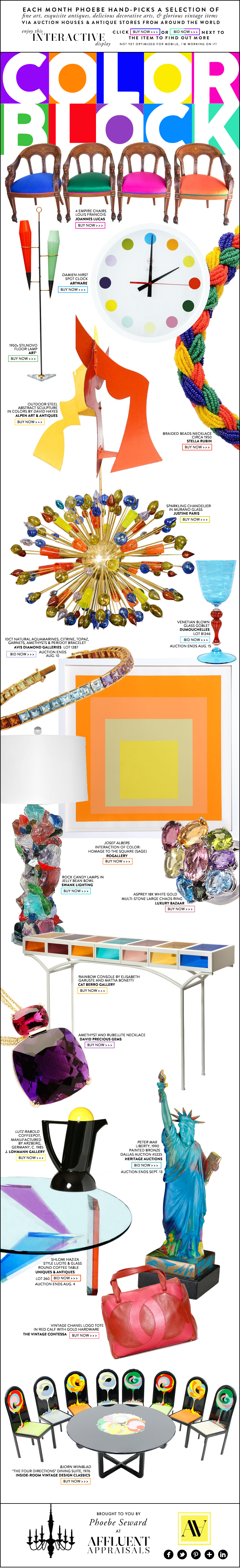 Fine Art & Antiques Trending for August 2015: Color Block | Brought to you by Affluent Appraisals & Phoebe Seward | affluentappraisals.com/blog | #art #antiques #products #editorial #design #newsletter | featuring items from: Damien Hirst, Stilnovo, Murano, DuMouchelles, Josef Albers, Asprey, Heritage Auctions, RoGallery, Elisabeth Garuste, Mattia Bonetti, Peter Max, Lutz Rabold, Chanel, & Bjorn Wiinbald