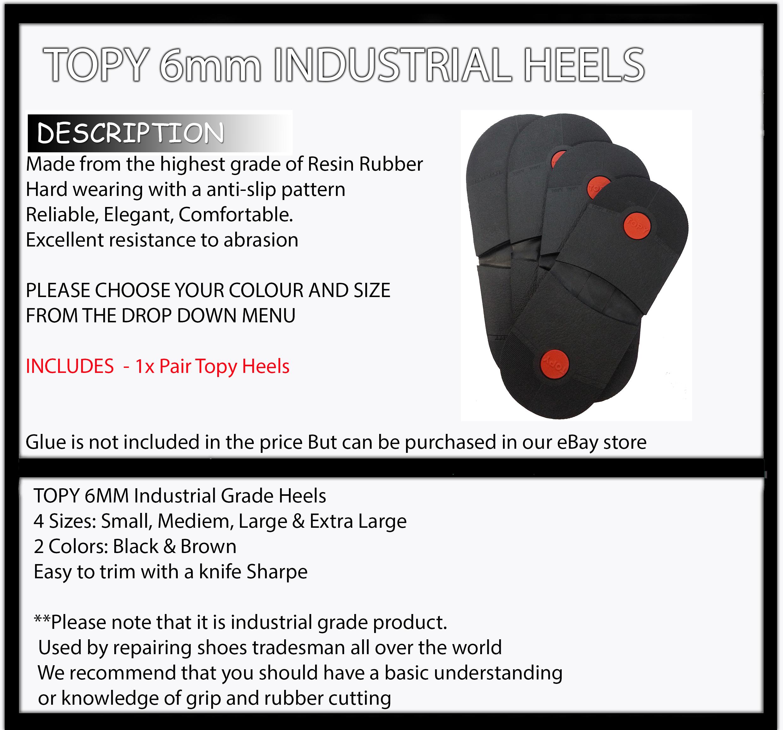 SHOE REPAIR  TOPY Industrial Grade HEELS DIY 6mm  Mens shoes Boots Rubber Heel