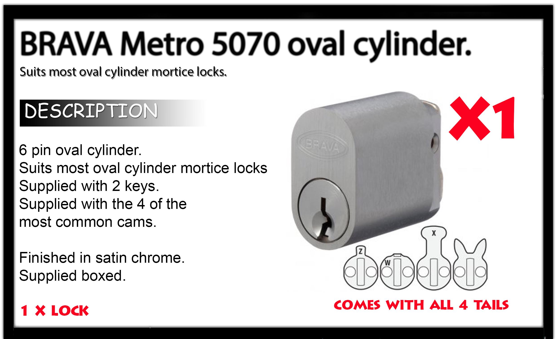 Brava BULK LOT SET x6 Locks KEYED ALIKE !!!! Oval cylinder 6 PIN