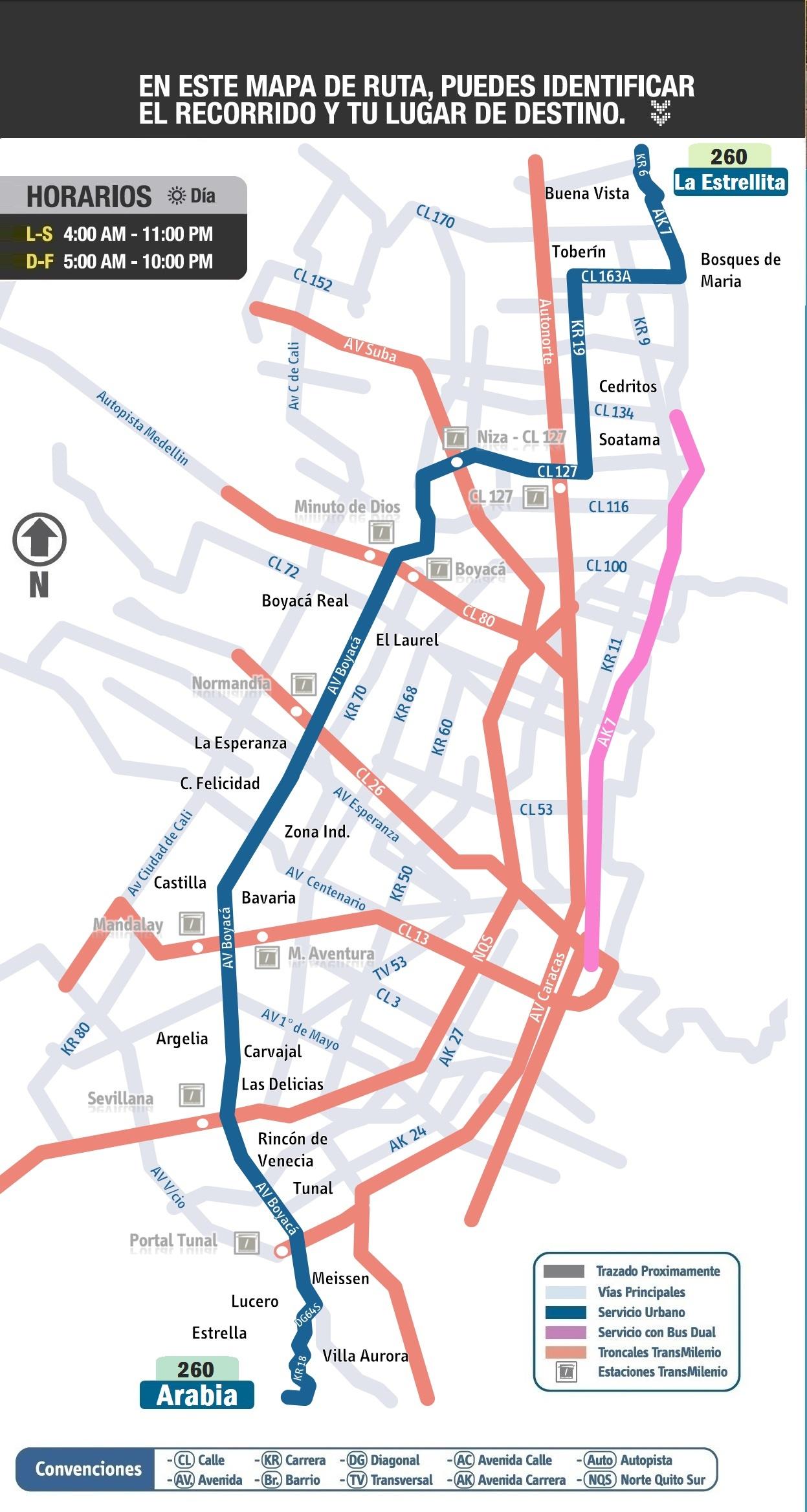 Mapa ruta urbana 260 - extraoficial, cortesía de Oskar Rojas