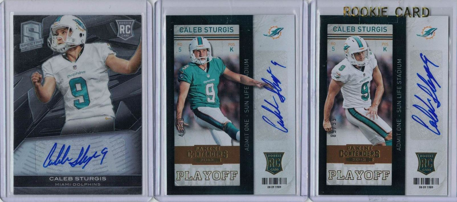 Amerikaans voetbal 2013 Panini Spectra Rookie Signatures 115 Caleb Sturgis Miami Dolphins Auto Card