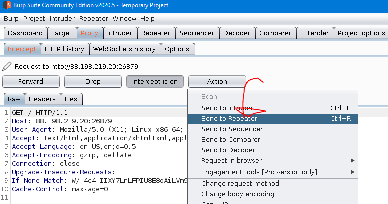 Image of burp proxy to repeater