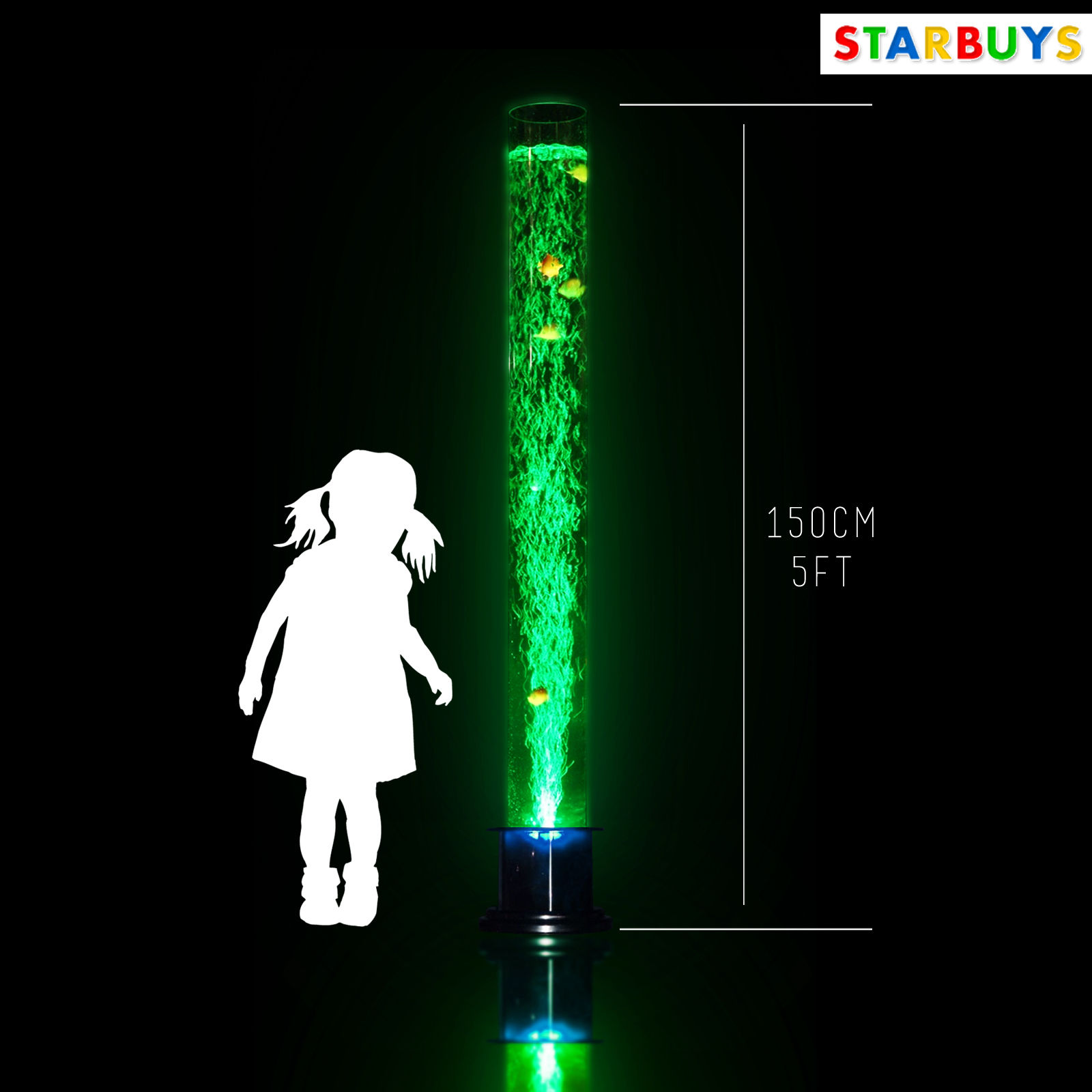 Large 150cm 5ft Bubble Fish Water Tube Lamp Changing Led